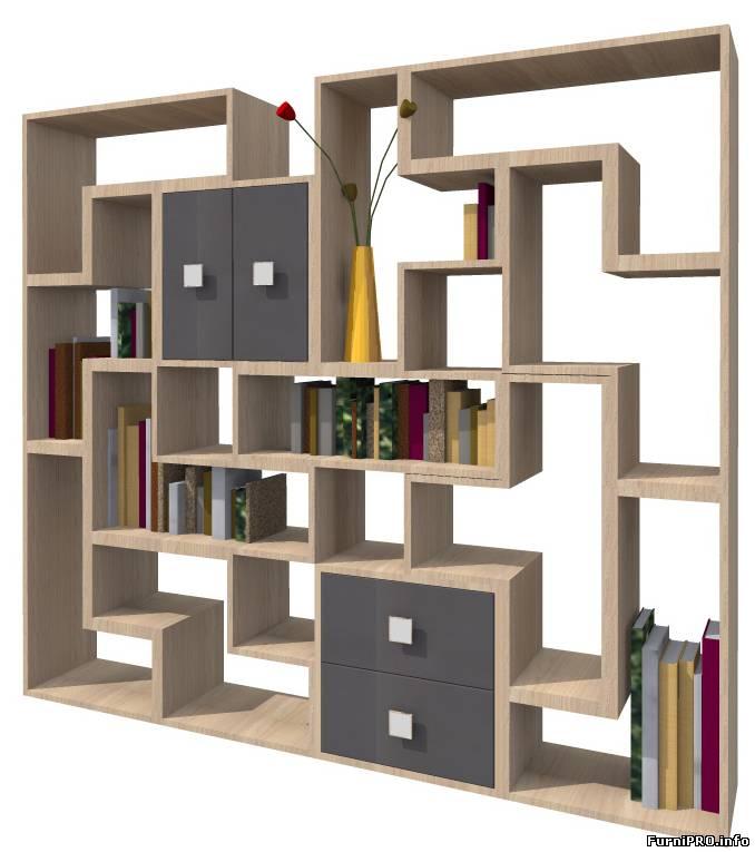 """Стеллаж модульный """"тэтрис"""" - 3d модель. - woody - библиотека."""