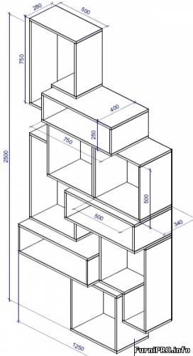Полка модульная — чертеж — Полки стеллажи — Чертежи — Скачать модели чертежи мебели и фурнитуры — Мебе