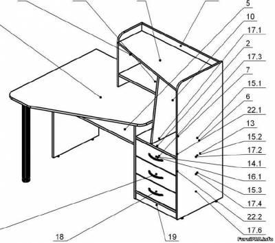 Чертж — Угловой компютерный стол — Столы — Чертежи — Скачать модели чертежи мебели и фурнитуры — Мебель
